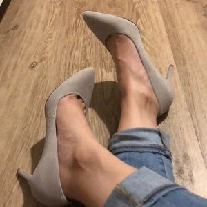 Pointy grey suede heels